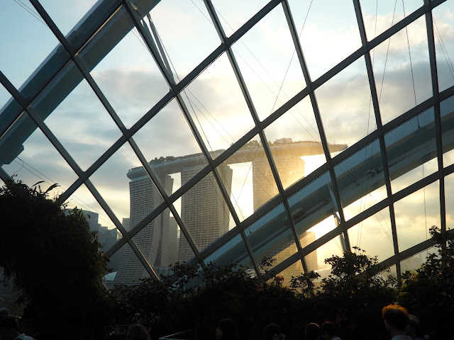 Marina Bay Sands at sunset, seen from the Cloud Forest, Gardens by the Bay, Singapore