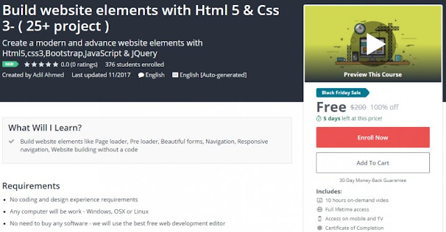 [100% Off] Build website elements with Html 5 & Css 3- ( 25+ project )| Worth 200$