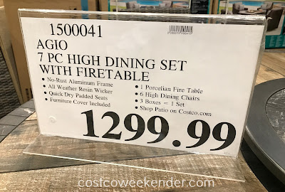 Deal for the Agio 7-piece Woven High Dining Set with Firetable at Costco