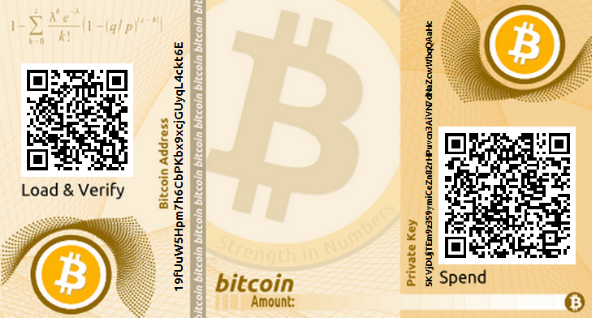 Billetera de papel para criptomonedas