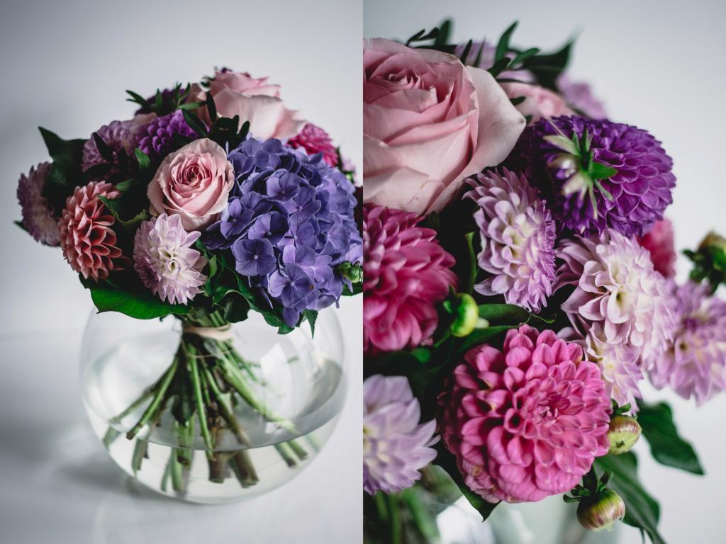 Ein bunter Blumenstrauß und Nahaufnahme Blüten