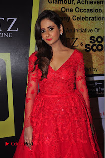 Actress Model Parul Yadav Stills in Red Long Dress at South Scope Lifestyle Awards 2016 Red Carpet  0049.JPG