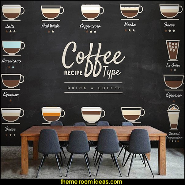coffee large mural wood blackboard wallpaper restaurant leisure tea shop seamless wallpaper