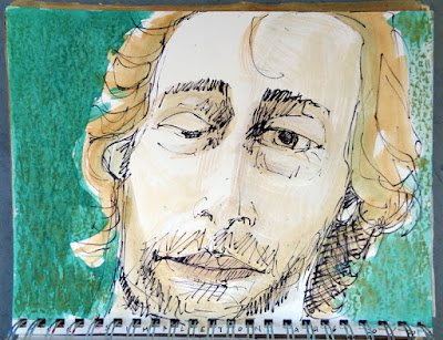 Portrait of Joe Voorsluys, oil paint marker and gouache in 9x12 sketchbook