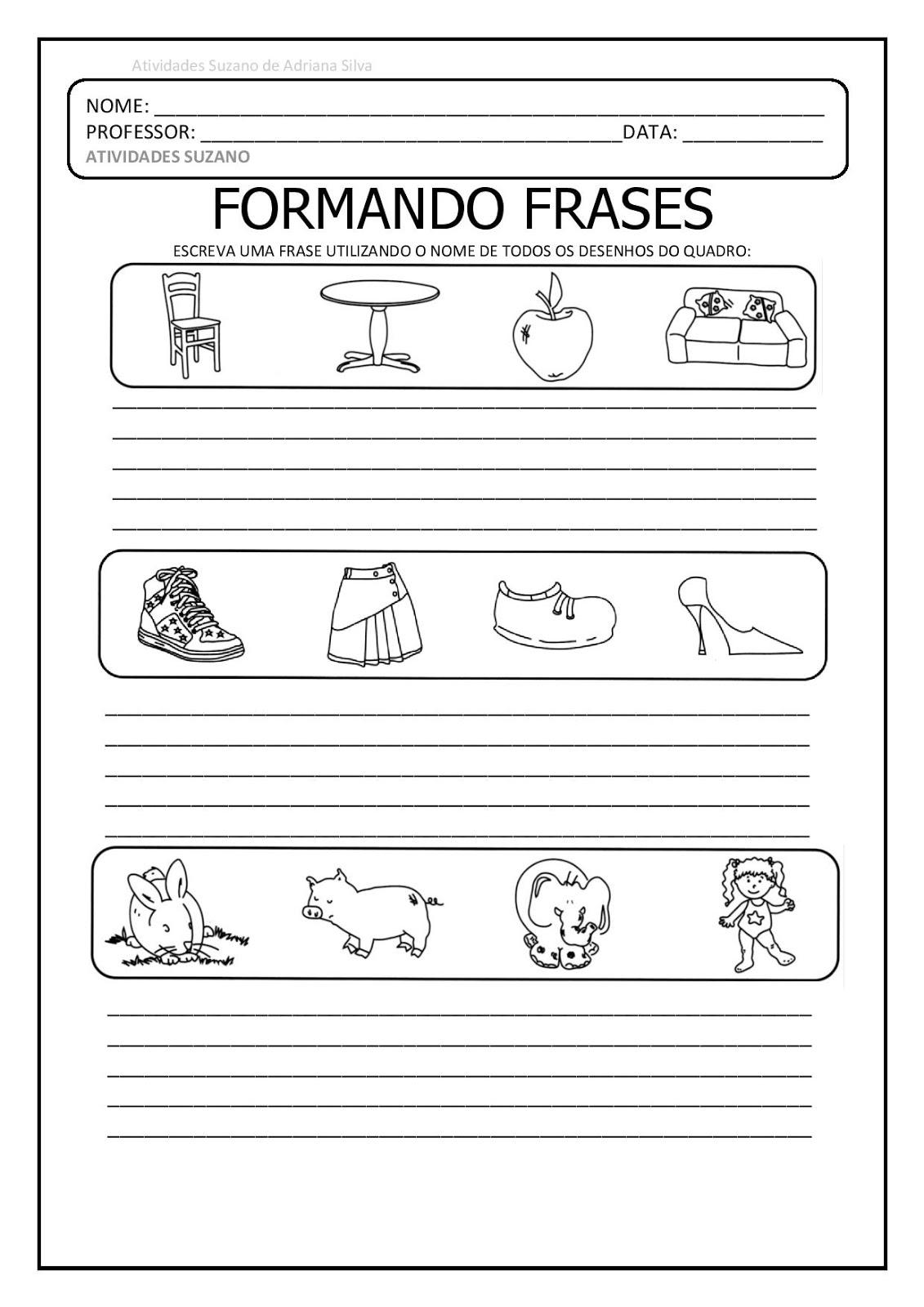 Atividades Pedagogica Suzano Trabalhando Formação De Frases E