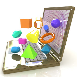 Clipart Image of a Laptop Computer with 3D Shapes