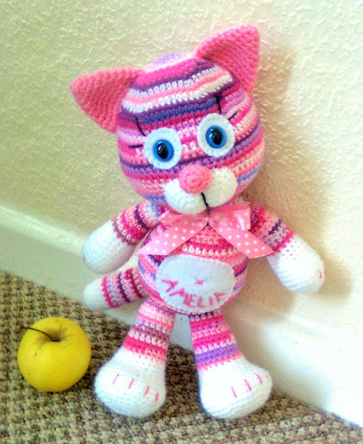 -crochet -amigurumi -pink -lilac -striped -cat -kitten -kass -roosa -handmade -kiisu-