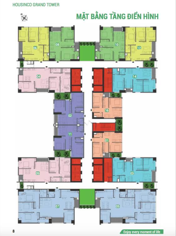Mặt bằng điển hình tầng dự án Housico Grand Tower