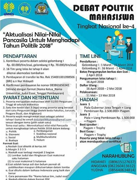 Lomba Debat Politik Mahasiswa Tingkat Nasional ke-4 2018 Univ. Negeri Semarang