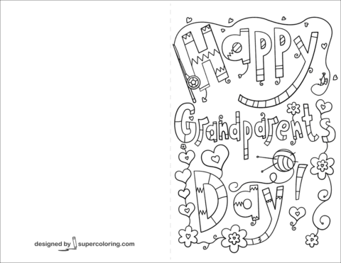 Free Printable Grandparents day Cards To Color