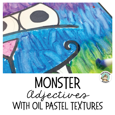 This will make teaching adjectives a ton of fun!  Kids will get to experiment with oil pastels and create textures to match adjectives like shaggy and bumpy.  See my 3 favorite texture ideas with step-by-step photos for each one.