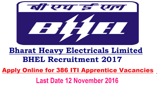 /2016/10/bharat-heavy-electricals-limited-bhel-2016-2017-386-iti-apprentice-vacancies-apply-online.htmlBHEL Recruitment 2017 – 2016|Bharat Heavy Electricals Limited – BHEL Recruitment 2017 – 386 ITI Apprentice Vacancies – Last Date 12 November 2016|BHEL, Bangalore invites application for the post of 386 ITI Apprentice in Various Trades. Apply Before 12 November 2016.
