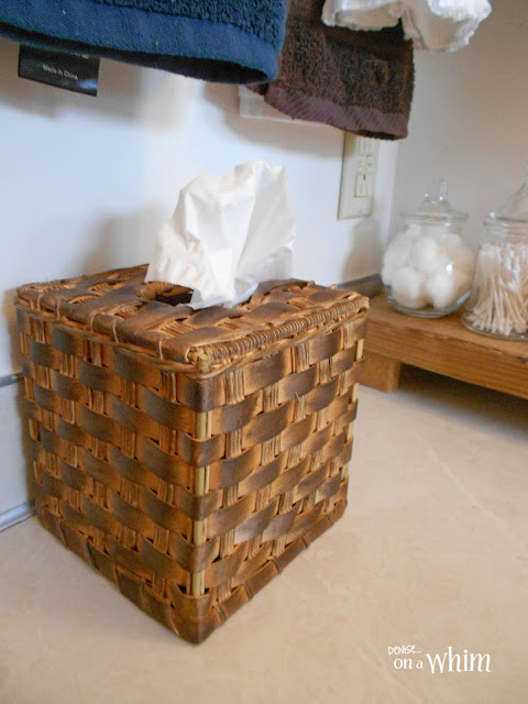 Stained Thrift Store Kleenex Holder | Vintage Farmhouse Bathroom Makeover | Denise on a Whim