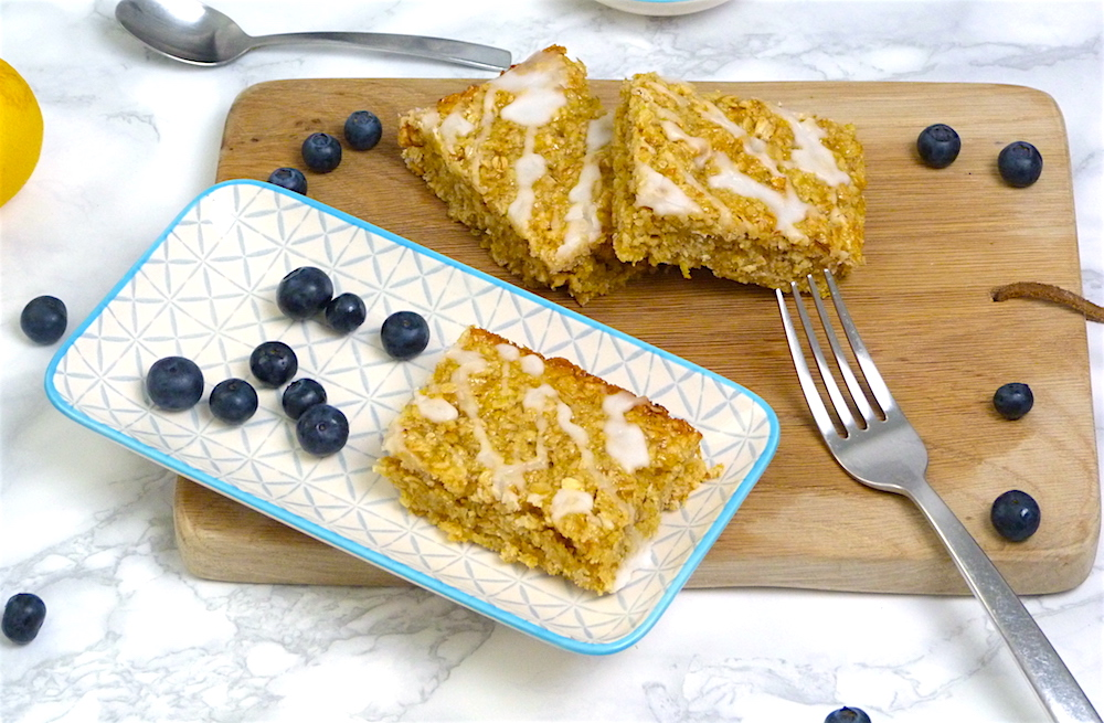 an image of Gluten and Dairy Free Lemon Drizzle Flapjack Recipe