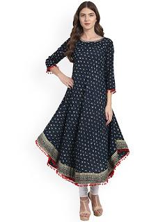 Women's Cotton Printed Blue Anarkali Kurti
