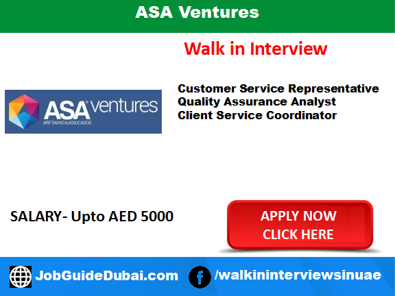 Job in Dubai for Customer Service Representative,Quality Assurance Analyst and Client Service Coordinator