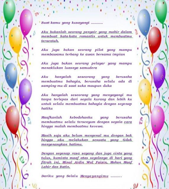 Contoh Surat Cinta Permintaan Maaf Idul Fitri Terbaru File Word