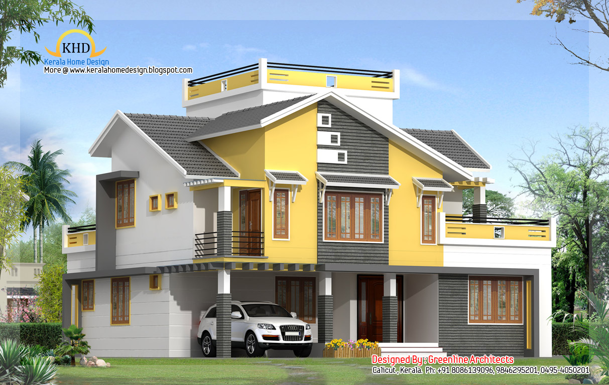 Asian House Front Elevation : Beautiful contemporary villa design sq ft kerala
