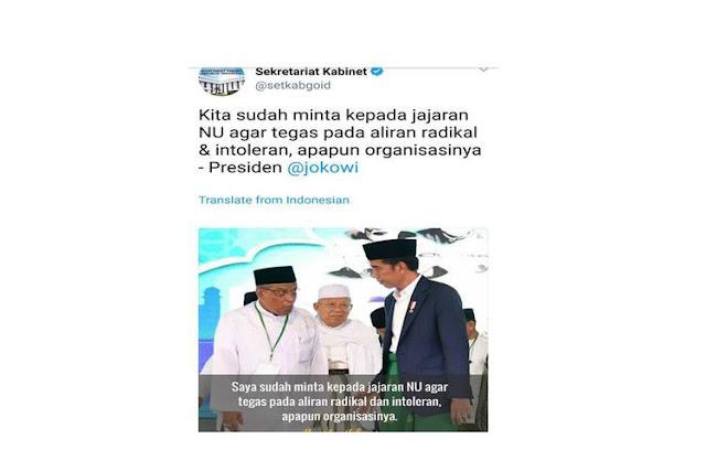 "Salah Kutip Pernyataan Jokowi, ""Tweet"" di Akun Setkab Akhirnya Dihapus"