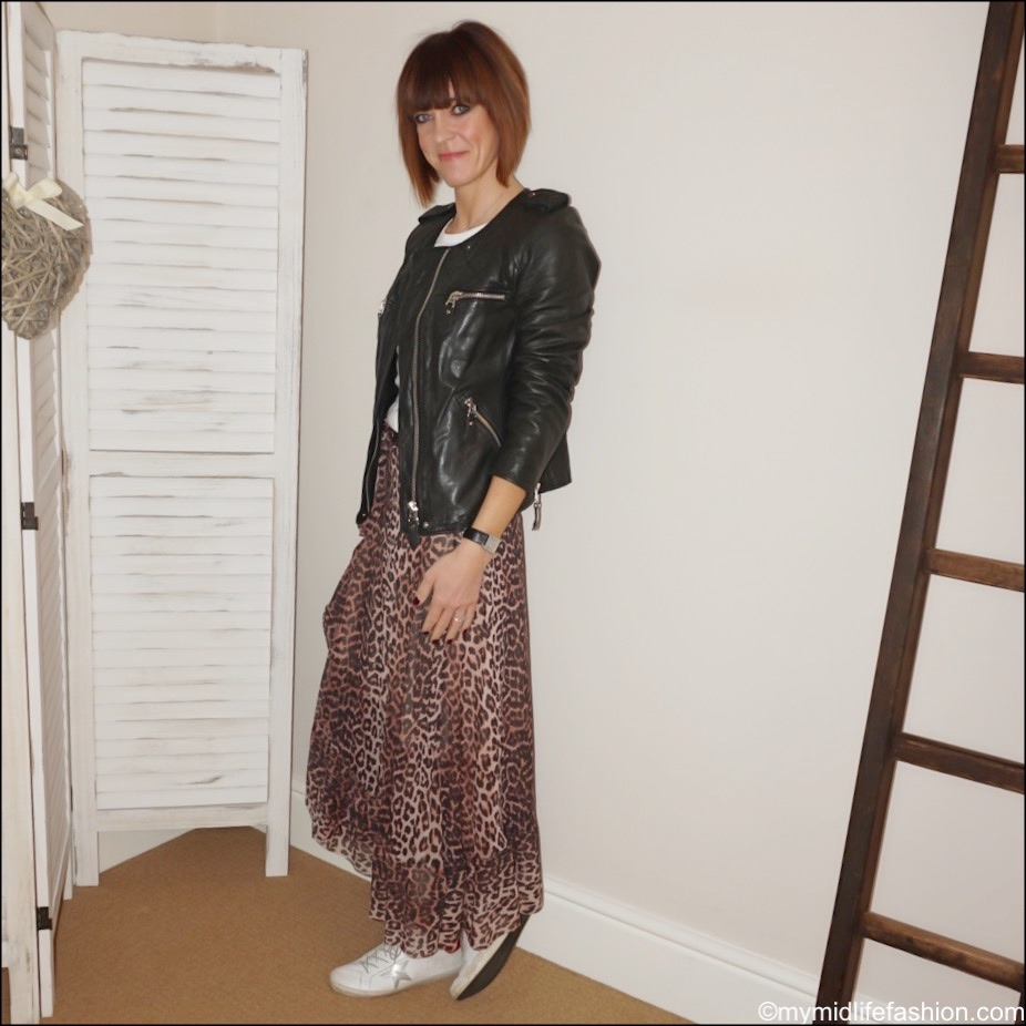 my midlife fashion, marks and Spencer pure cotton long sleeve t shirt, Isabel Marant Etoile quilted leather jacket, Ganni mesh leopard print frill wrap skirt, golden goose superstar low top leather trainers