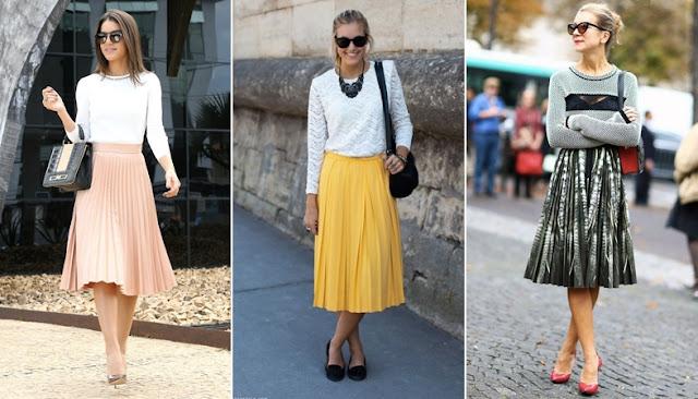 Saia Midi fica legal com blusinhas mais sequinhas, levemente folgadas, desde que a cintura esteja marcada e em evidência. Por este mesmo motivo, combina bastante com