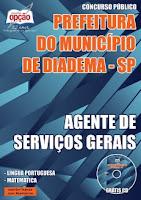 Apostila Concurso Prefeitura de Diadema 2016 para AGENTE SERVIÇOS GERAIS.