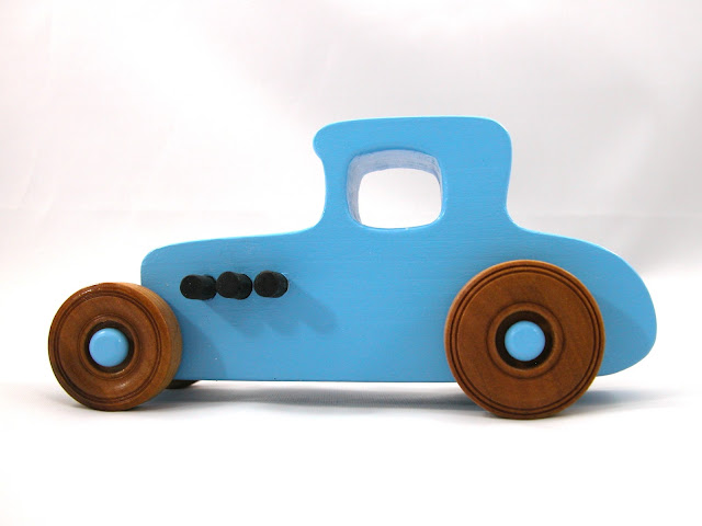 Wooden Toy Car - Hot Rod Freaky Ford - 1927 Ford Coupe - Model-T - Baby Blue - Amber Shellac - Black - Pine