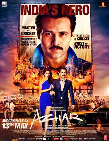 Poster Of Azhar 2016 Hindi 450MB DVDRip 720p ESubs HEVC Watch Online Free Download Worldfree4u
