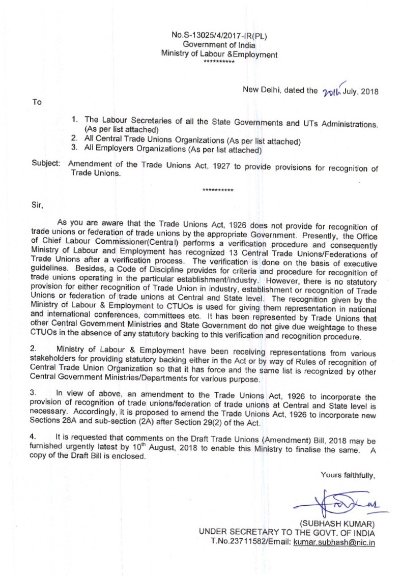 trade unions act 1927 to provide provisions for recognition