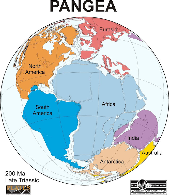 Pangea no momento em que todos os continentes estavam unidos. Segundo o Instituto de Geofísica da Universidade de Austin, Texas, EUA