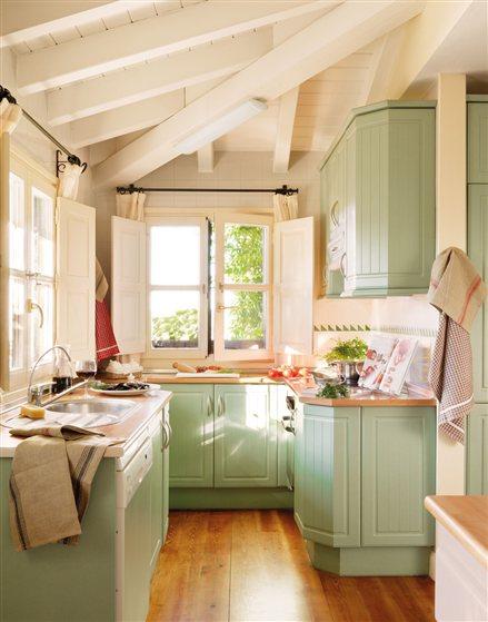 Fotos ideas para decorar casas - Cocina verde agua ...