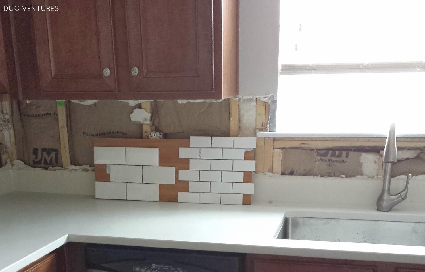 White Ceramic Subway Tile Backsplash: Duo Ventures: Kitchen Makeover: Subway Tile Backsplash