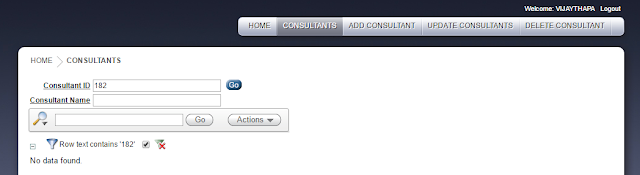 After entering the consultant id, submit button was clicked to delete the consultant