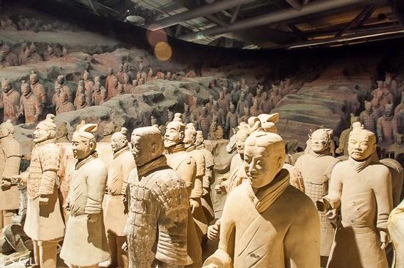 Panoramica del foso de los soldados de Terracota