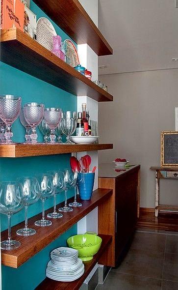 azul petroleo na parede cozinha