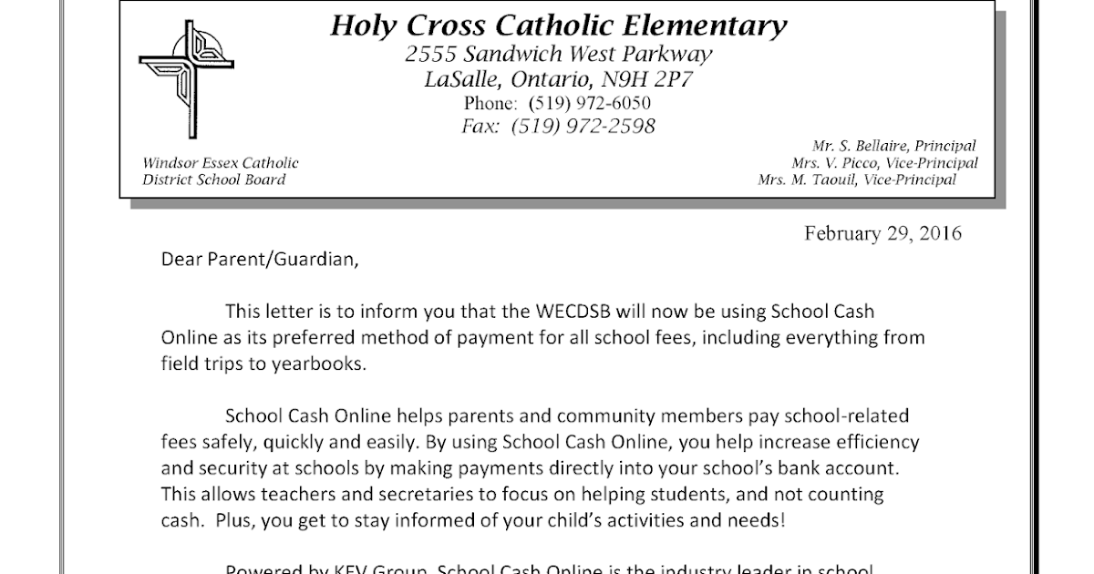 Holy Cross Huskies News: New School Cash Online Payment System at