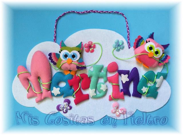 nube, fieltro, nombre, rótulo fieltro, buho de fieltro, decoración bebé, OWL, CORUJA, curuxa, guirnalda