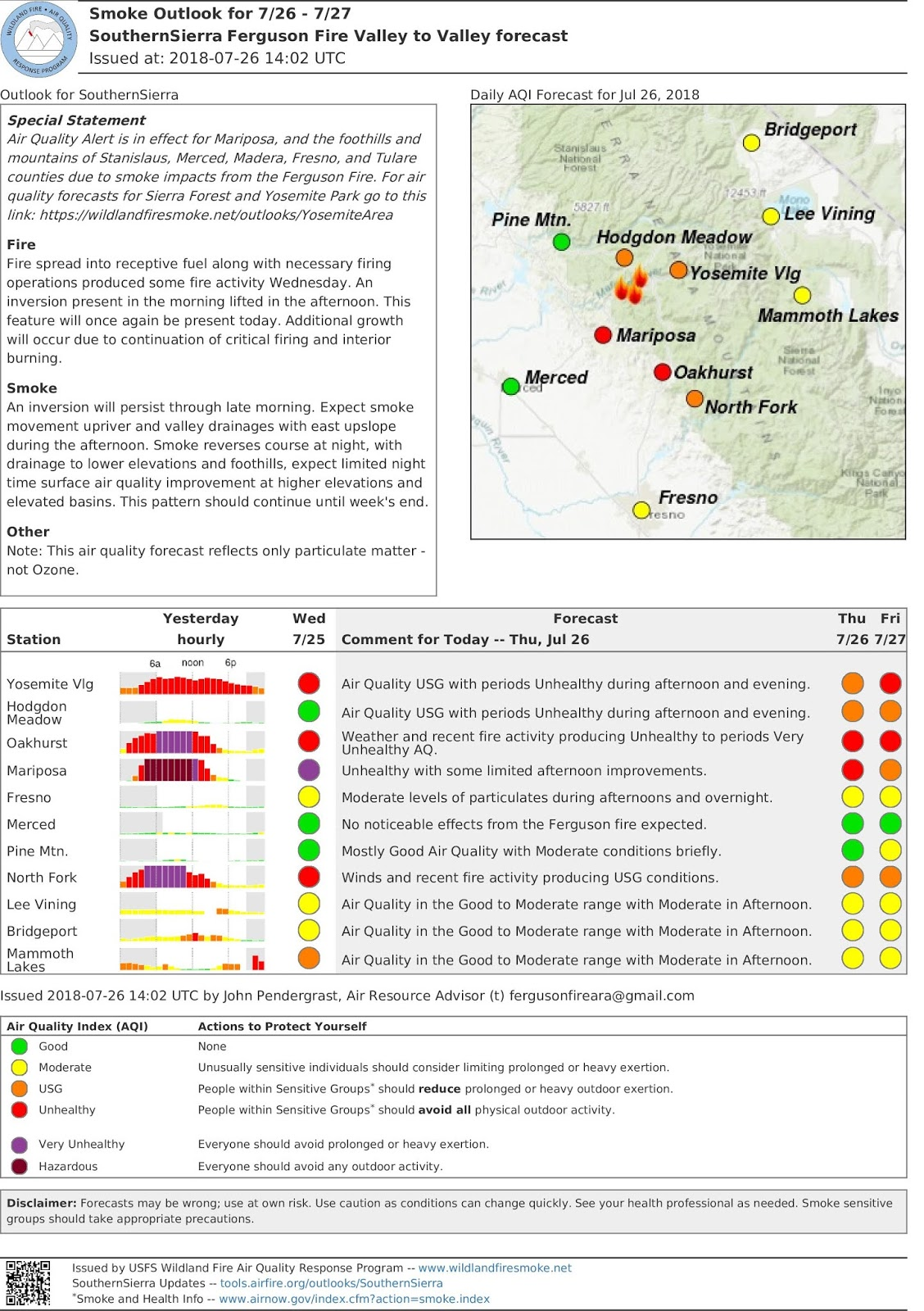 thursday july 26th valley to valley forecast for the ferguson fire