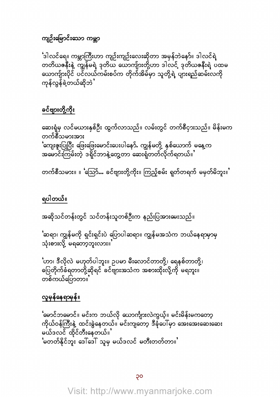 The Narrow World, myanmar jokes