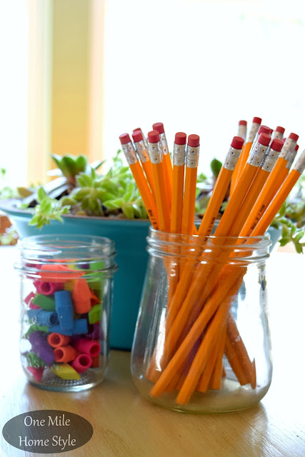 Word of the Year 2016: Simplify | One Mile Home Style - Organized School Supplies in Glass Jars