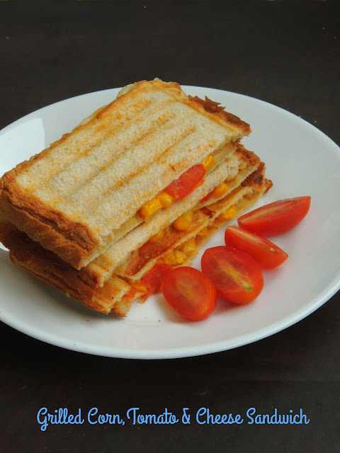 Grilled cheese,corn & tomato sandwich, Cheesy Vegetable sandwich