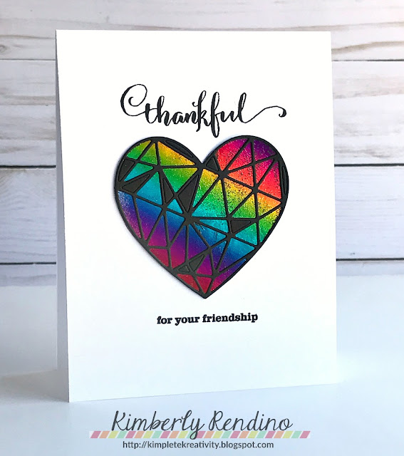 rainbow heart | handmade card | Kimberly Rendino | kimpletekreativity.blogspot.com | winnie & walter | clear stamps | minc machine | foiling | cardmaking | papercraft