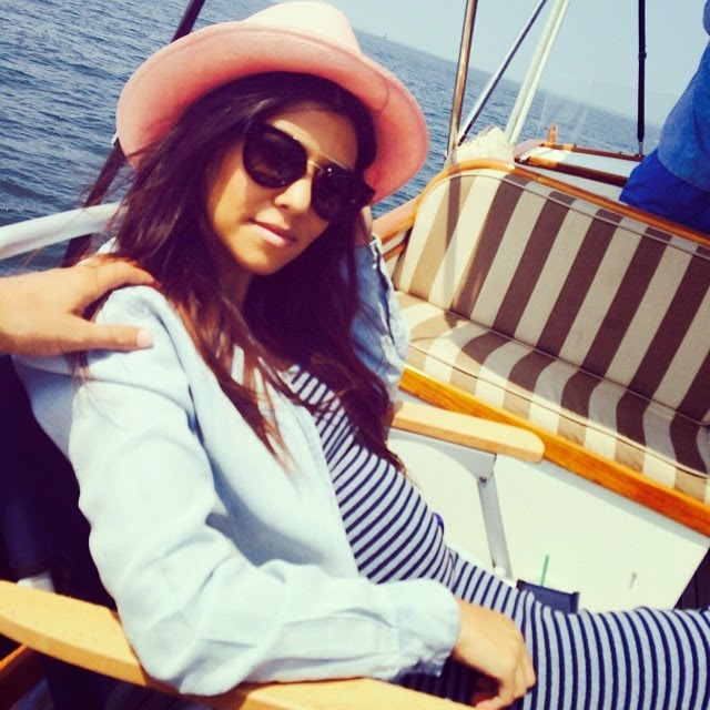 Kourtney Kardashian Boating in the Hamptons