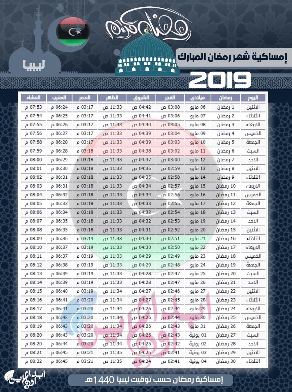 امساكية شهر رمضان 2019 ليبيا طرابلس وبقية المدن اليبية 1440
