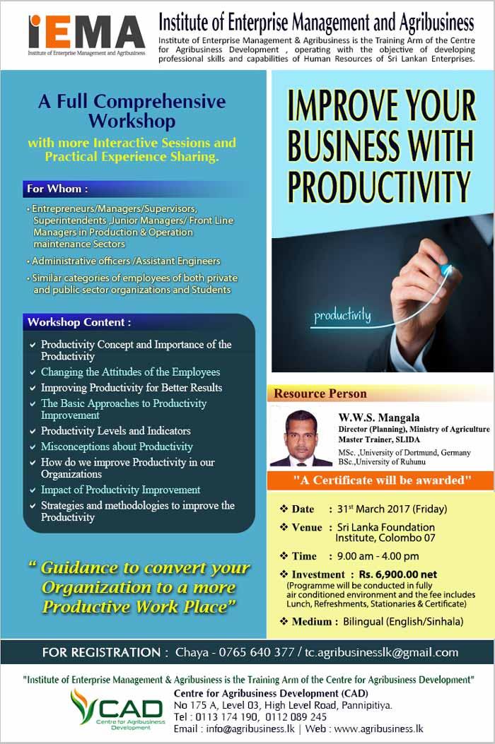 IEMA | Workshop on Productivity Improvement