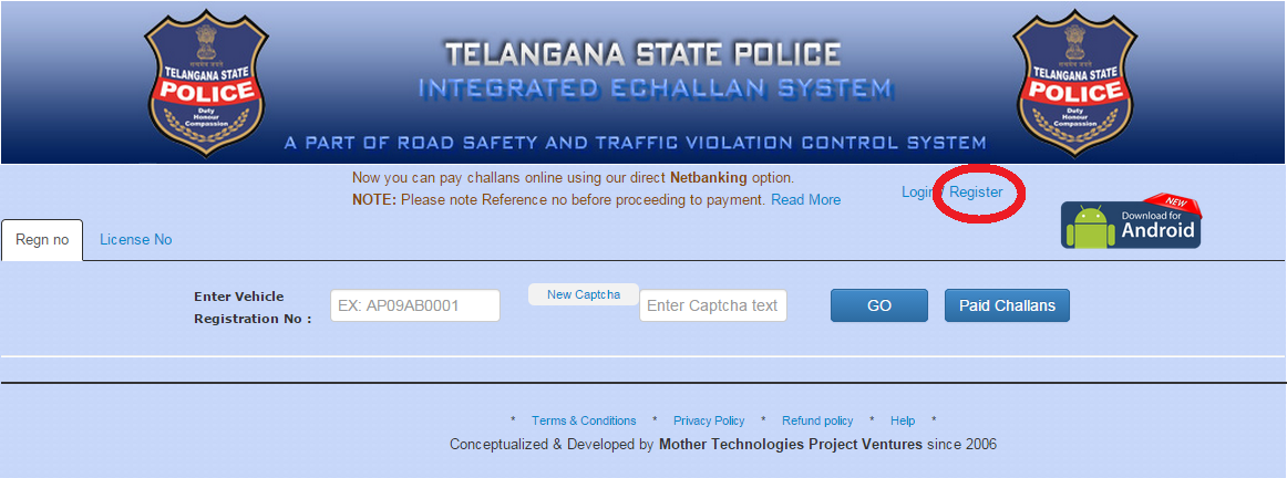 e Challan Registration