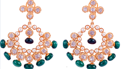 Polki Uncut Diamond and Gold Earrings By SLG Jewellers
