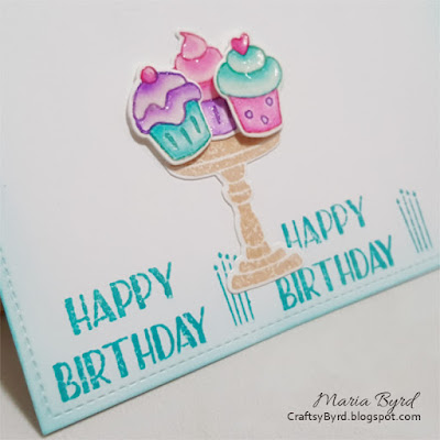 Detail of Simon Says Stamp Birthday Cupcake Card by Maria Byrd | CraftsyByrd.blogspot.com