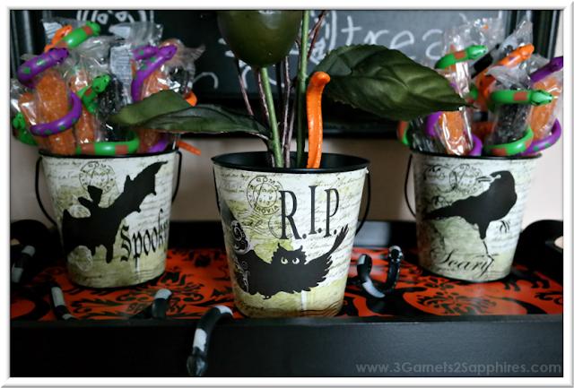 Decorative Spooky Halloween Pails  |  3 Garnets & 2 Sapphires