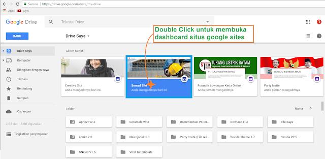 Login ke google drive dan double click untuk membuka dashboard situs google sites